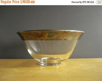 30% off SALE Mix It Up - Vintage Dorothy Thorpe Punch or Salad Bowl - Mad Men Style Barware - Large Glass and Silverplate Bowl - Silver Rim