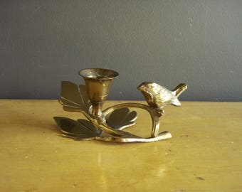 Small and Bright - Vintage Brass Candle Holder with Bird Figurine - Brass Candlestick Leaves and Bird