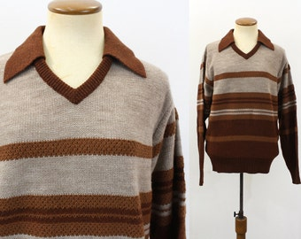 1960s Pullover Sweater Men's Collared V Neck Striped Retro Brown Vintage 60s Preppy Knit Long Sleeve Pullover Collar Hipster Indie Small S