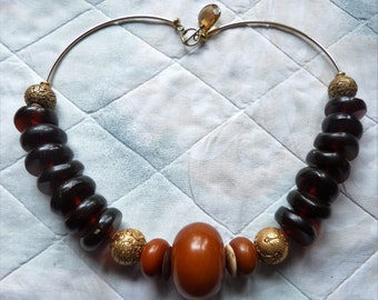 High End Statement Necklace,  African Amber Necklace, Africa Jewelry, Beadartaustria
