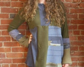 Repurposed t-shirts pullover tunic-  extra large green and blue -medium weight cotton blend-henley  ecofriendly - large or xlarge