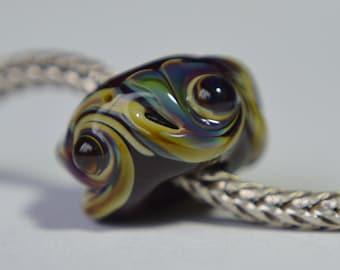 Unique Chocolate Brown Handmade Lampwork Glass European Charm Bead - SRA - Fits all charm bracelets - Silver Core Options