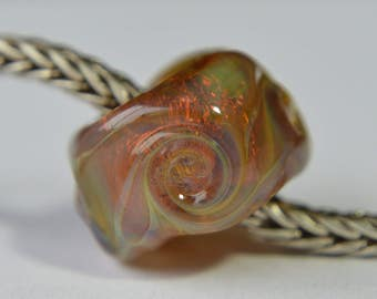 BHB - Unique Handmade Lampwork Glass European Charm Bead with Silver Glass - SRA - Fits all charm bracelets - Silver Core Options