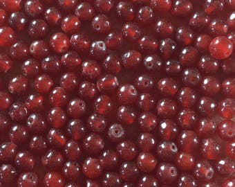 30 x 6mm deep red dyed jade round beads