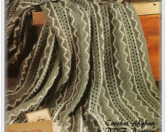 Crochet Afghan Pattern - Rich Shades Of Green - Wavy Border - PDF CR955522