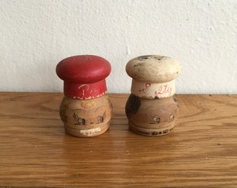 Vintage Wooden Mr. and Mrs. Salt and Pepper set