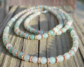 Jade Green Copper Necklace Extra Long Christmas Mother's Day Birthday Jewerly for Wife Mother Daughter Girlfriend