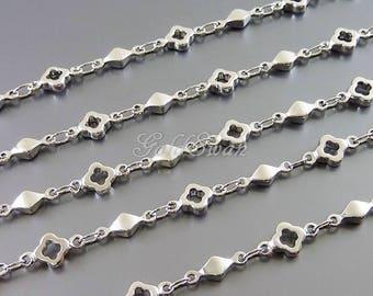 1 foot flower and diamond charm beaded chain, bead charm bracelet, high quality chains B152-BR (1 foot)