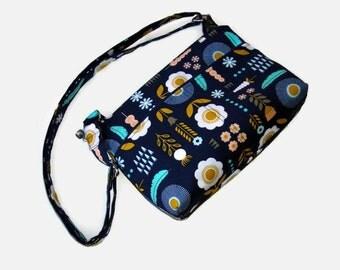 Blue Floral Small Zippered Crossbody Purse - Small Messenger Bag - Womens Handbag - Zipper Closure - Cross Body Bag - Outside Pockets