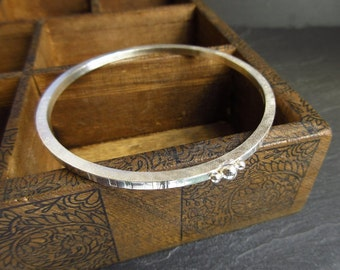 Sterling silver bangle with silver balls and stripe pattern, stacking bangle, metalwork jewelry, bright finish, silver bracelet, medium size