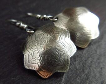 Sterling silver flower earrings, patterned silver earrings, oxidized patina, metalwork jewelry, embossed metal, ladies earrings, christmas