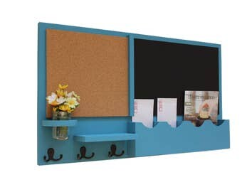 Mail Organizer - Cork Board - Chalkboard - Message Center - Coat Rack - Jar Vase - Wood