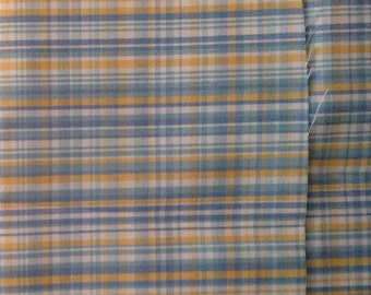 Vintage Nylon Polyester Fabric - Blue and Yellow Plaid - Crisp Fabric - Scant Yard