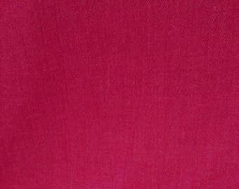 Vintage 1970s Woven Cotton  Fabric - Raspberry Red- Medium/Heavy Weight Fabric - Slightly Crinkled Fabric By The Yard