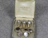 1920s to 1930s Art Deco Men's Tuxedo Cuff Links and Shirt Studs Lot in Krementz Box