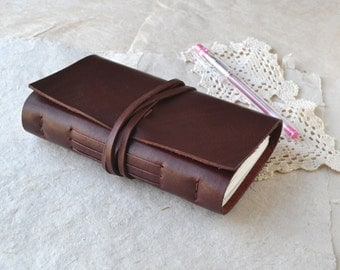 Burgundy Leather Journal - A Fat Little Leather Book for your Adventures
