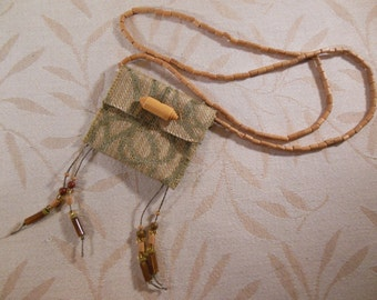 Beaded Fabric Textile Necklace, Green and Tan Fiber Amulet Pouch Necklace, Boho Poem Keeper, Fiber Art Necklace