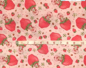 Out of Print Rare Strawberry Shortcake Strawberry Fabric, 1 yard