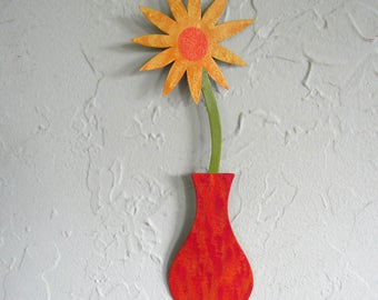 Metal flower sculpture vase home wall decor reclaimed metal wall art yellow red  3 x 10