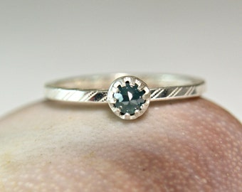 Rose Cut Blue Diamond Promise Ring, Sterling Silver Engagement Ring, Custom Made Jewelry