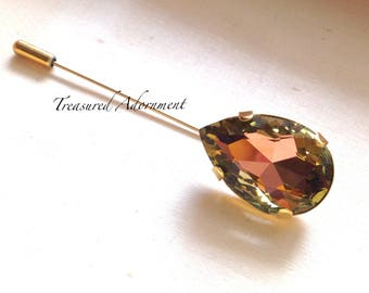 Vitrail Light Peach and Green Teardrop Rhinestone Hijab pin, Gold tone, Scarf pin, Shawl pin, Brooch, Peacock, Eid Gift, Mother's Day gift