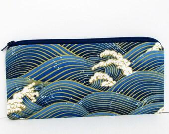 Tsunami Ocean, Zippered Pencil Pouch, Indigo Blue Wave Bag with Gold Metallic