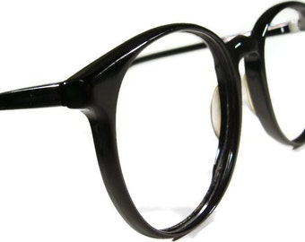 Vintage Big Lens Black Cateye Eyeglasses Eyewear Frame France