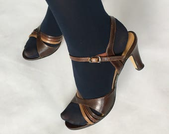 brown strappy 80s heels size 7 - 1211349