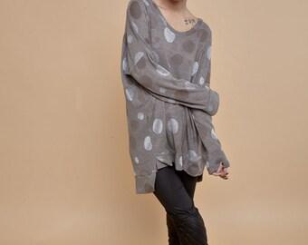 NEW! Polka dots coffee color oversize shirt - long sleeves t-shirt - XL polka dots pattern knitted shirt