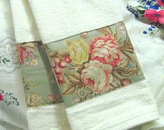 Hand Towels ~ RALPH LAUREN Original CHARLOTTE floral Fabric Custom Decorated Terry Cloth