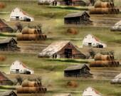 Barns Fabric, 1-1/2 Yard, Greener Pastures,  82490-271,  Greener Pastures, by Jennifer Pugh, Wilmington Prints, Large Panel, Farmland, Barns