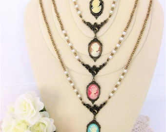 Victorian Cameo Necklaces, Cameo Necklaces, Beaded Necklaces, Cameo Jewelry, Cameo, Victorian Necklaces, Beaded Cameo Necklace, Cameos, N788