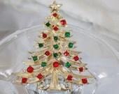 Vintage Christmas Tree Brooch. Tancer. Clear, Red, Green Rhinestones Christmas Tree Pin.  Holiday Pin.  Christmas Brooch.