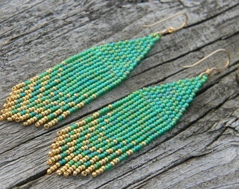 Green and Gold Seed Bead Earrings