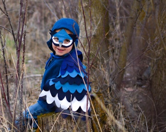 Children Blue Jay Costume, Bird Wings and Mask Kids Halloween Carnival Dress up Toy, Girls and Boys, Toddlers