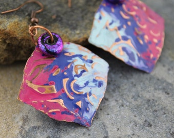 Artisan Embossed, Hand Painted, Forged Copper with Paula Dichroic Bead Earrings
