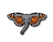 PRE-ORDER - Butterphant Pin - BIG Hard Enamel Pin - Orange