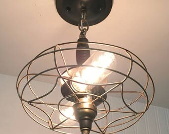 INDUSTRIAL Ceiling Light with VINTAGE Fan Cage - Flush Mount LightingChandelier Upcycle Repurpose Cage Rustic by LampGoods
