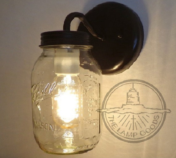 Wall Mounted Fruit Jar Lights : Mason Jar Wall SCONCE Lighting Fixture New Quart Farmhouse
