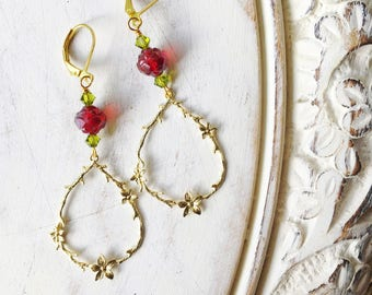 Rose Red Fairytale Earrings by MinouBazaar