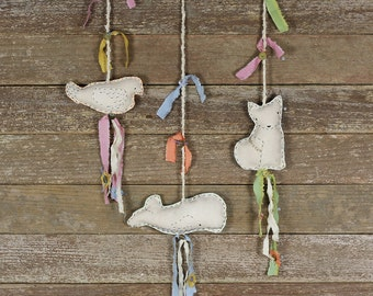 handmade organic cotton/hemp decorative wall charms with plant dyed silk: by kata golda