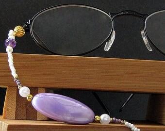 Badge Holder or Eyeglass Chain. Lavender Lanyard. Beaded Lanyard. Purple Eyeglass Holder. Handmade Lanyard.