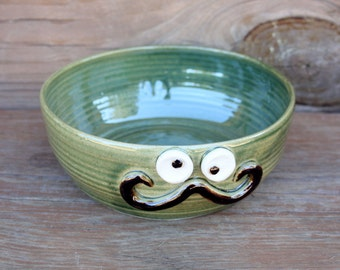 Large Mustache Lover Pottery Serving Bowl. Green Stoneware Handlebar Mustache Dish. Fun Ug Chug Handmade Face Pot. Unique Finds for Him.