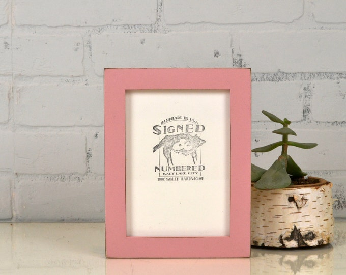 5x7 inch Picture Frame in 1x1 Flat Style with Vintage Rose Pink Finish - IN STOCK - Same Day Shipping - 5 x 7 Photo Frame Pink