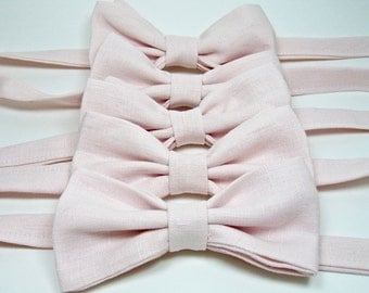 Blush Bow Ties Linen Bow Ties Pink Bow Ties Groomsmen Bow Ties Custom Bow Ties Freestyle Bow Ties