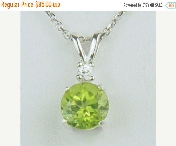 Valentines Day Sale Peridot Necklace 7mm Round 1.60ct With White Zircon Accent Sterling Silver Natural Untreated