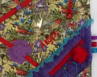 Mini Fidget Birds and butterflies Lovey Blanket / 18 x 18 / Alzheimer's Stroke Rehabilitation Dementia Patient Restless Sensory / FREE NAME