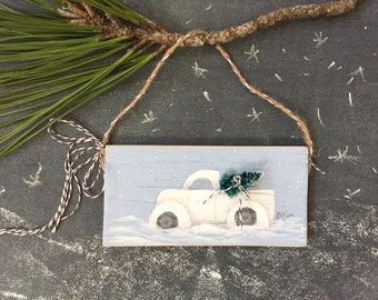 Old Vintage Truck with Christmas Tree Ornament Hand Painted Wood