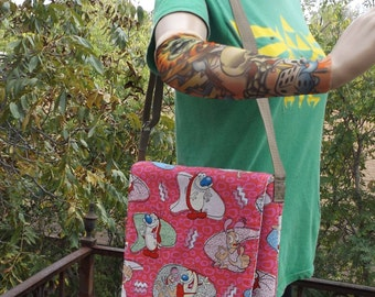 Ren and Stimpy Messenger Bag  / Hip Bag  Medium Size Crossbody  Nickelodeon