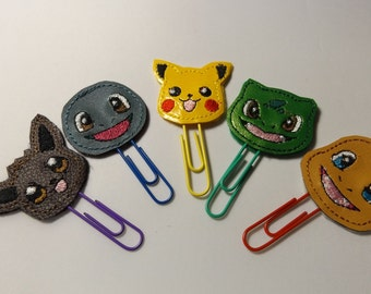 Pokemon Planner Clips / Bookmarks  Set of 5